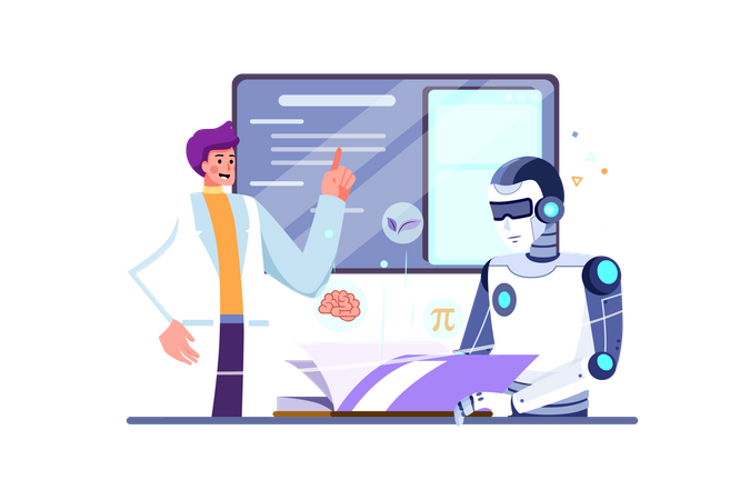 Scientist programming robot for day to day productivity Illustration