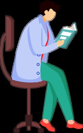 Scientist reading book, journal Illustration