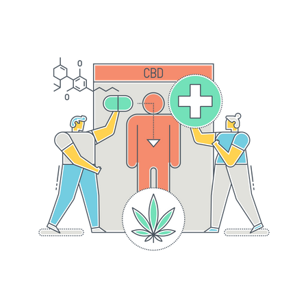 Scientist searching various use of CBD Illustration