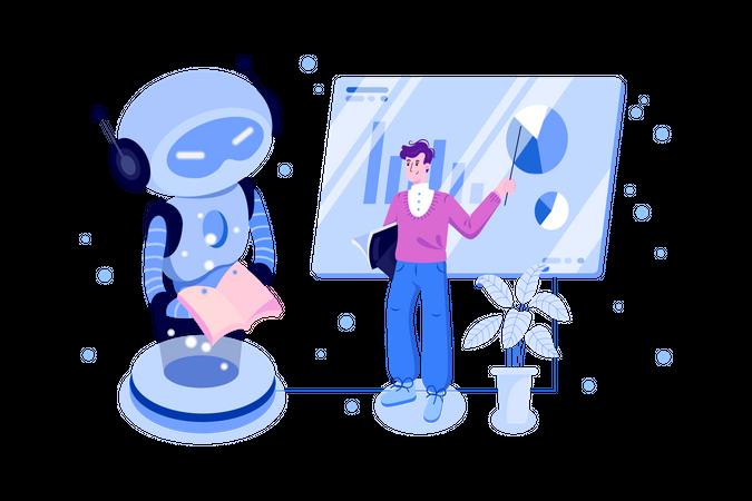 Scientist teaching robot to business work Illustration