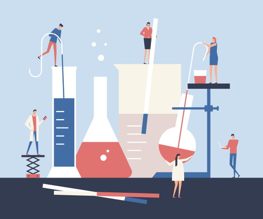 Scientists doing experiments Illustration