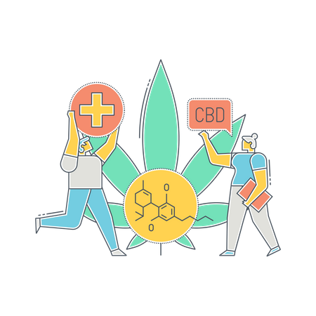 Scientists doing research on Hemp plant Illustration