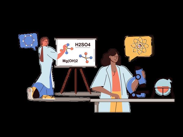Scientists doing scientific experiments Illustration