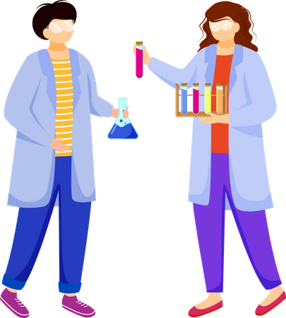 Scientists in lab coats Illustration