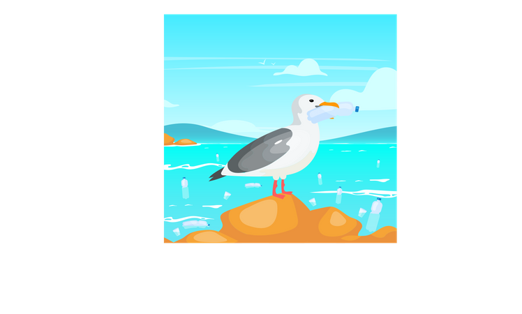 Seagull with plastic bottle Illustration