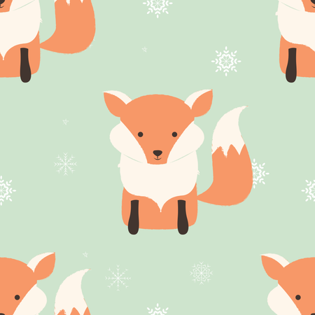 Seamless Merry Christmas patterns with cute hipster fox Illustration