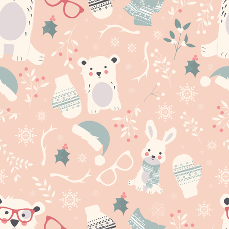 Seamless Merry Christmas patterns with cute polar animals, bears, rabbits Illustration