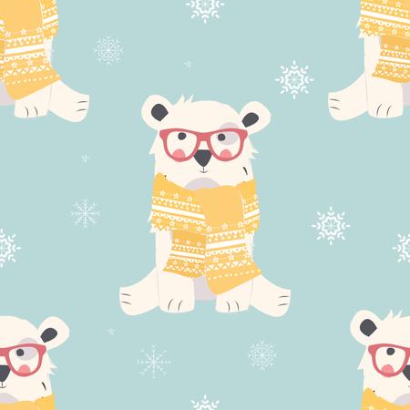 Seamless Merry Christmas patterns with cute polar bear animals Illustration