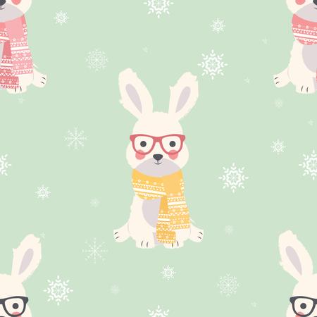 Seamless Merry Christmas patterns with cute polar rabbit animals Illustration