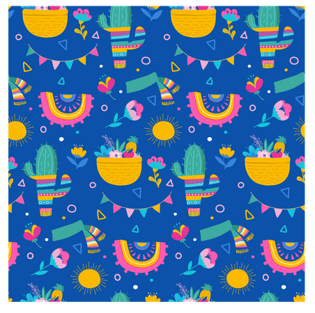 Seamless pattern and background, cacti, palm leavs, jungle flowers, Mexican fiesta background Illustration