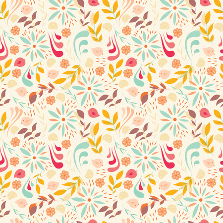 Seamless pattern design with little flowers, floral elements, birds Illustration