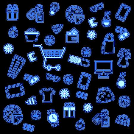 Seamless Pattern for shopping Illustration