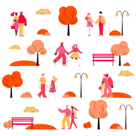 Seamless Pattern For Valentines Day With Dating Couples Illustration