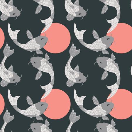 Seamless pattern with carp koi fish and sun, traditional japanese art Illustration