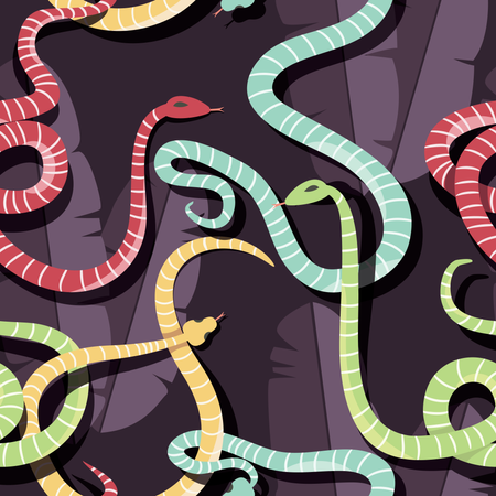 Seamless pattern with colorful intertwined striped rain forest snakes Illustration