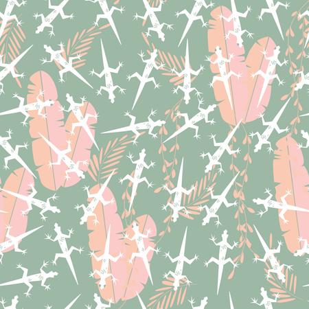 Seamless pattern with cute green rain forest animal gecko lizard Illustration