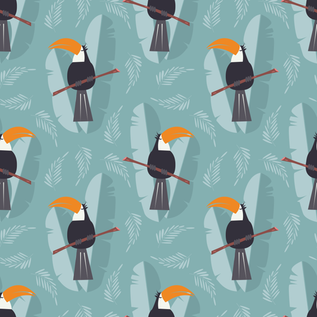 Seamless pattern with cute jungle parrot toucan on blue background Illustration