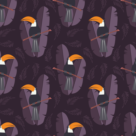 Seamless pattern with cute jungle parrot toucan on purple background Illustration