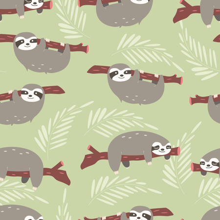 Seamless pattern with cute jungle sloths on green background Illustration