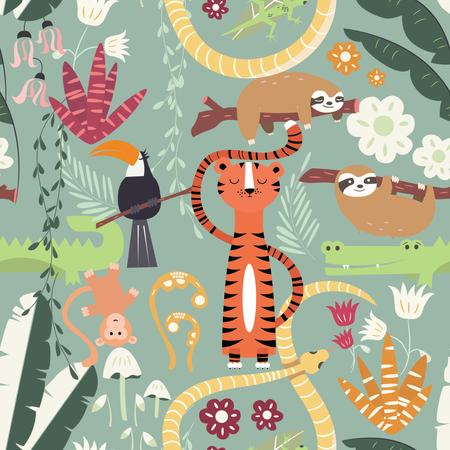 Seamless pattern with cute rain forest animals, tiger, snake, sloth Illustration