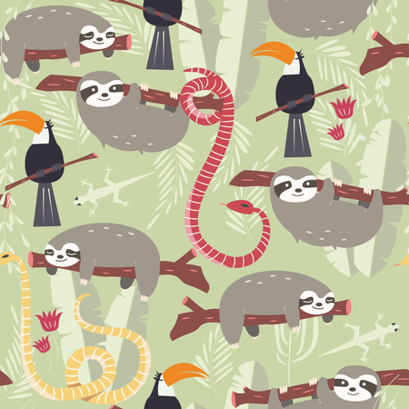 Seamless pattern with cute rain forest animals, toucan, snake, sloth Illustration