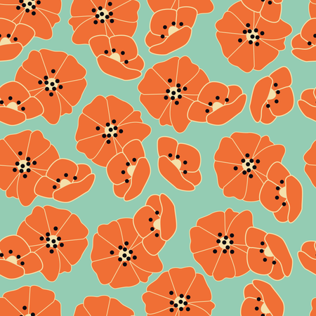 Seamless pattern with flowers and floral elements, nature life, vector illustration Illustration