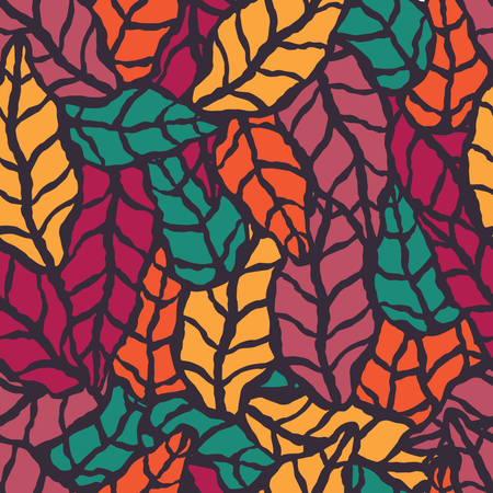 Seamless pattern with hand drawn natural leaves Illustration