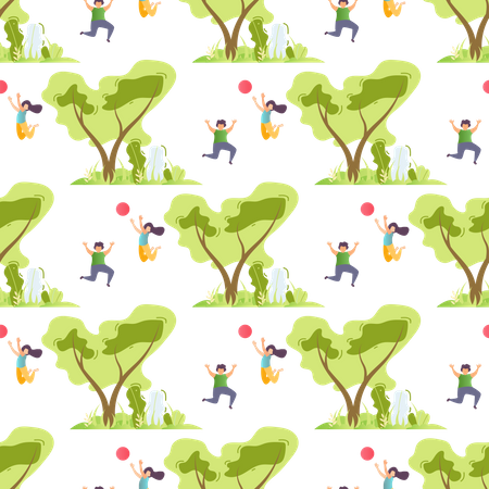 Seamless Pattern with Happy Children and Trees Illustration