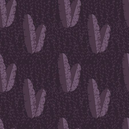 Seamless pattern with jungle palm leaves on purple background Illustration