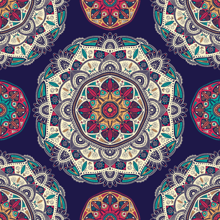 Seamless pattern with ornamental floral ethnic mandalas Illustration