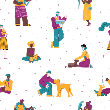 Seamless pattern with pets owners and animals Illustration