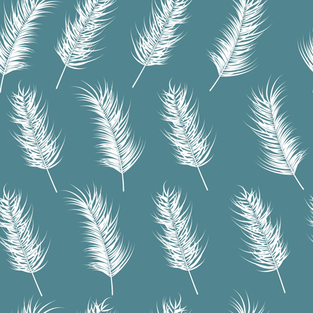 Seamless pattern with tropical leaves on blue background Illustration