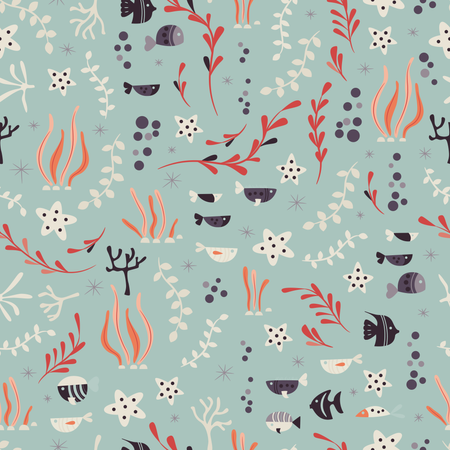 Seamless pattern with underwater ocean animals, cute fish and plants Illustration