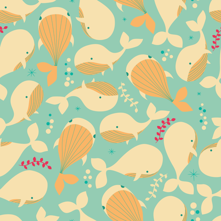 Seamless pattern with underwater ocean animals, cute whales Illustration