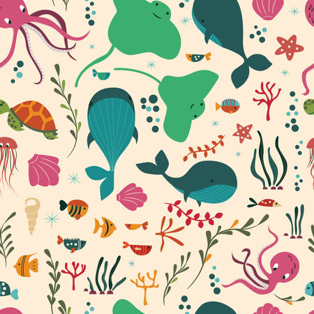 Seamless pattern with underwater ocean animals, whale, octopus, stingray, jellyfish Illustration