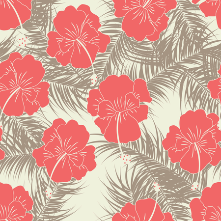 Seamless tropical pattern with brown leaves and red flowers on vanilla background Illustration