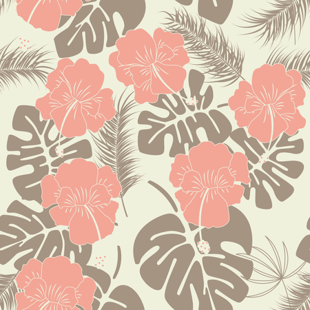 Seamless tropical pattern with monstera leaves and flowers on vanilla background Illustration