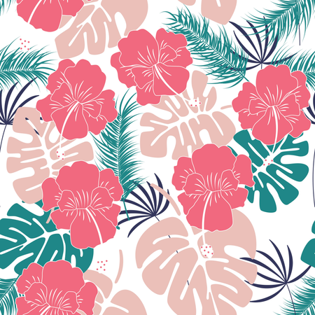 Seamless tropical pattern with monstera leaves and flowers on white background Illustration