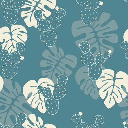 Seamless tropical pattern with monstera palm leaves, and cactus on blue background Illustration