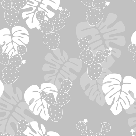 Seamless tropical pattern with monstera palm leaves, and cactus on gray background Illustration