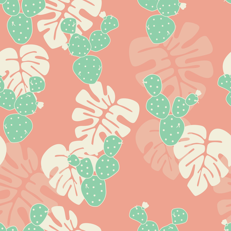 Seamless tropical pattern with monstera palm leaves, and cactus on pink background Illustration