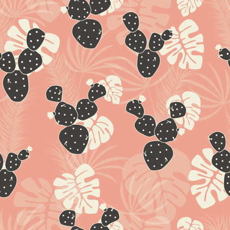 Seamless tropical pattern with monstera palm leaves and cactus on pink background Illustration