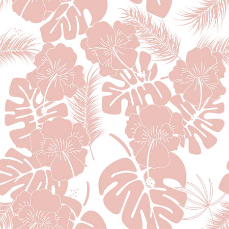 Seamless tropical pattern with pink monstera leaves and flowers on white background Illustration