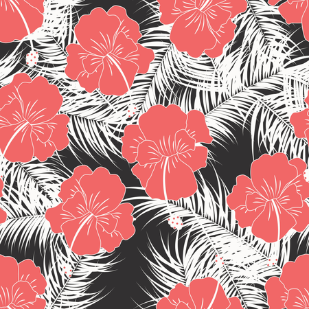 Seamless tropical pattern with white leaves and red flowers on white background Illustration