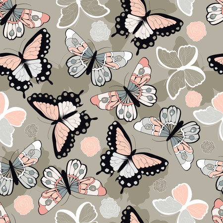 Seamless vector pattern with hand drawn colorful butterflies Illustration