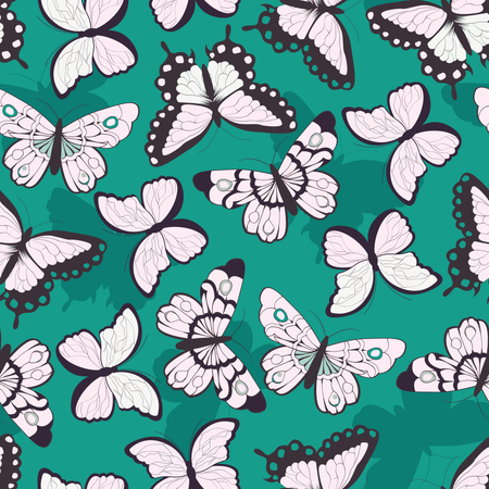 Seamless vector pattern with hand drawn colorful butterflies, green background Illustration