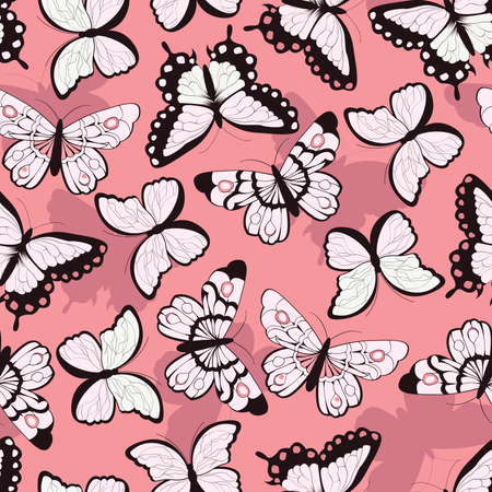 Seamless vector pattern with hand drawn colorful butterflies, pink background Illustration