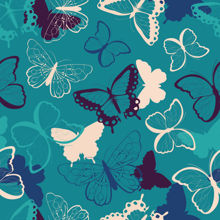Seamless vector pattern with hand drawn colorful butterflies, silhouette vibrant Illustration