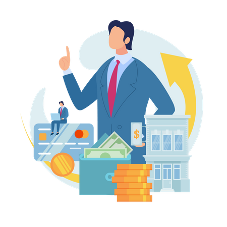Searching Business Loan Offer, Bank Investments Proposal Illustration