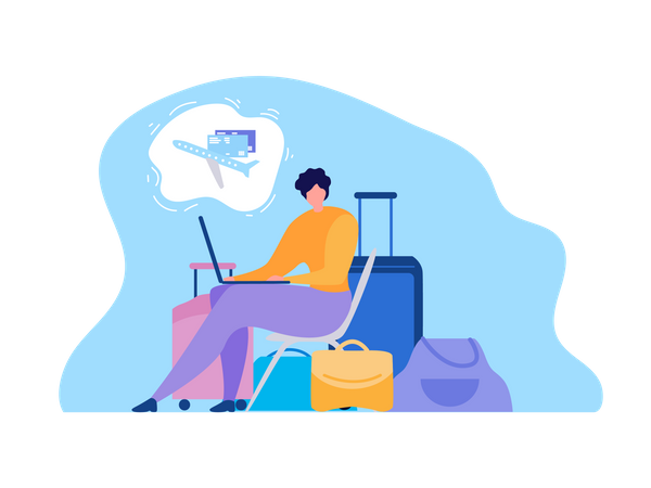 Searching Flights Schedules in Internet, Booking Tickets Online Illustration